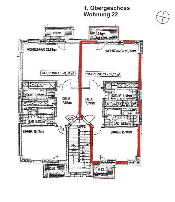 Grundriss Ferienwohnung in 17459 Koserow, Am Strauchelfeld 4, Ferienwohnung 22, Ferienwohnungsvermittlung Herrmann