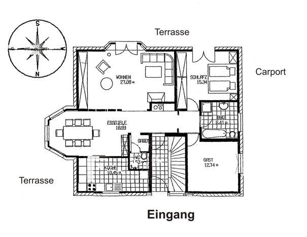 Grundriss Haus An der Wingst in Cadenberge, Cuxland, ferienwohnungsvermittlung Herrmann, www.Fewo.cc